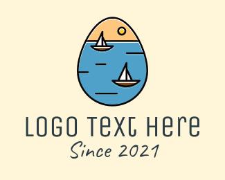 Sail Ship Egg logo design