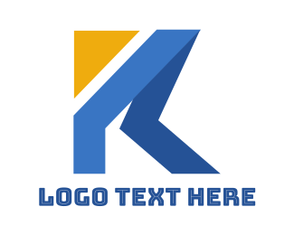 Name - Yellow Triangle K Ribbon logo design