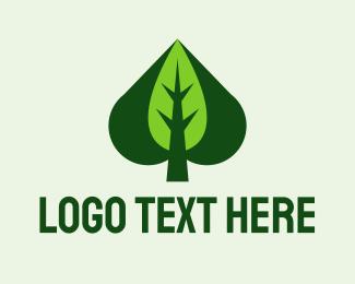 Green Leaf Spade  logo design