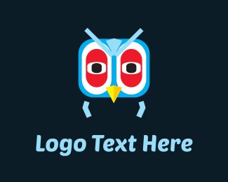 Pigeon - Blue Owl Cartoon logo design