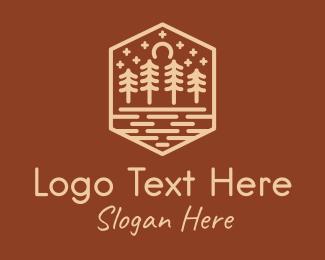 Rustic Forest Outline logo design