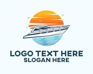 Water Sports - Speed Boat Sunset  logo design