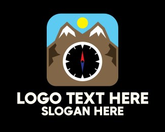 South - Mountain Compass Location App logo design