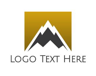 Alps - Gradient Gold Mountain logo design