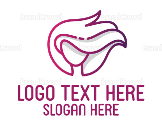 Pink Woman Outline Logo Maker