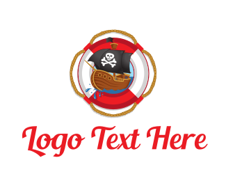 Illustration - Pirate Ship logo design