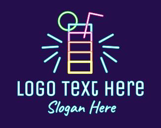Neon Lights - Neon Liquor Sign logo design