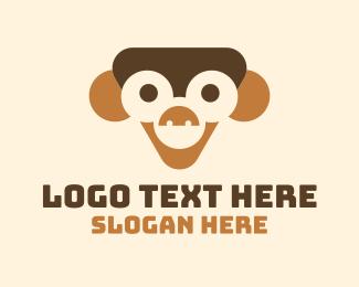 Chimpanzee - Happy Toy Monkey logo design