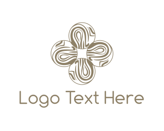 Artisan - Wooden Flower Cross logo design