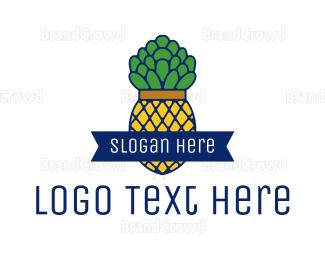Dietitian - Pineapple Fruit Outline logo design