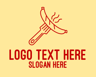 Street Food - Hot Dog Sausage Fork  logo design