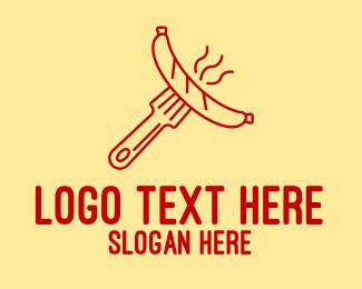 Hot - Hot Dog Sausage Fork logo design