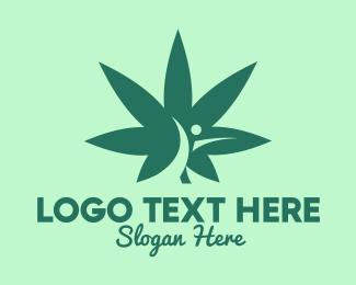 Cannabis Leaf - Marijuana Human Leaf logo design