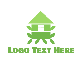 Tree House - Green Leaf House logo design