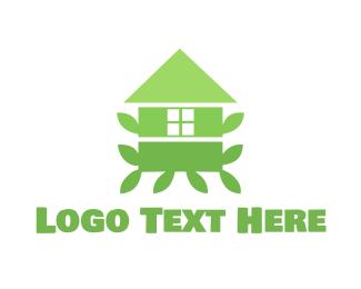 Tree House - Green Leaf House logo design