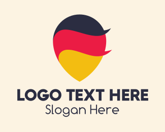 German - German Flag Location Pin logo design
