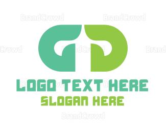Double - Green Double G logo design