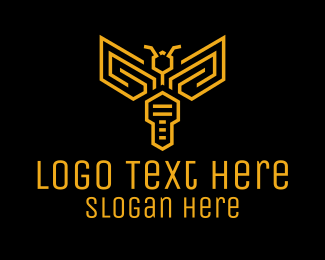 Security - Yellow Key Wasp Outline logo design