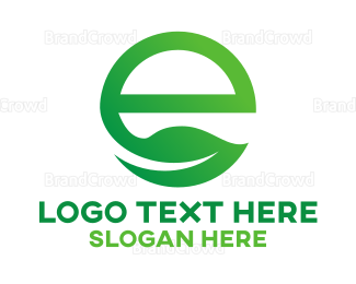 Ecosystem - Green E Leaf logo design