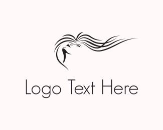 Girl - Wavy Hair logo design