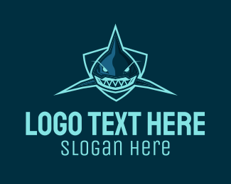 Shield - Blue Shark Team Mascot  logo design