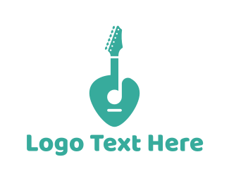 Zeppelin - Turquoise Rock Guitar logo design