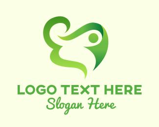 Yoga Training - Green Healthy Living Human logo design