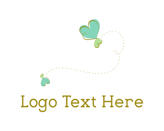 Insect - Heart Butterfly logo design