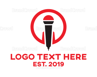Musician - Red Modern Mic logo design