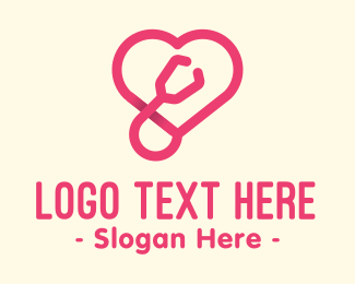 Examination - Pink Heart Stethoscope logo design