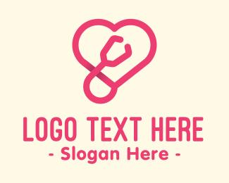 Cardiology - Pink Heart Stethoscope logo design