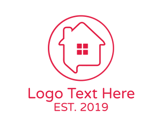 Residence - House Chat Outline logo design