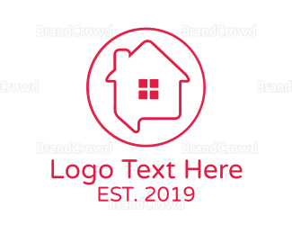 Text Message - House Chat Outline logo design