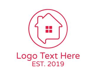 Carpentry - House Chat Outline logo design