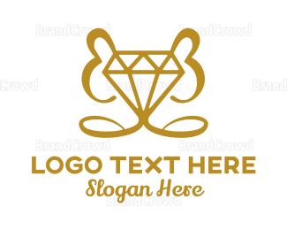 Resort - Gold Stroke Diamond logo design