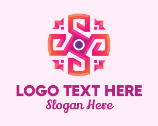 Hipster - Pink Abstract Flower logo design