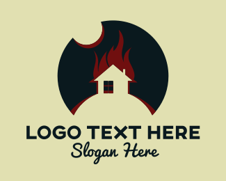 Firefighter - House Flames logo design