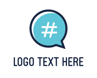 Text - Chat & Hashtag  logo design