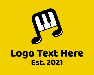 Melody - Piano Music Note logo design