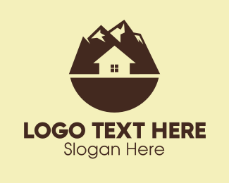Mountainside - Brown Mountainside House  logo design