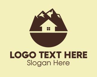 Lodge - Brown Mountainside House logo design