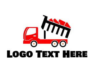Trash Can - Red Dump Truck logo design