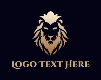 """Gold Lion Face"" by eightyLOGOS"