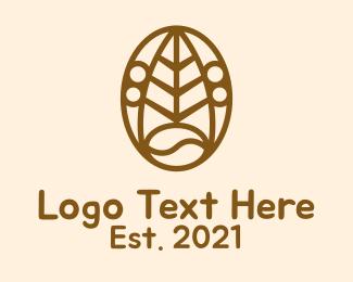 Leaf - Brown Coffee Bean  logo design