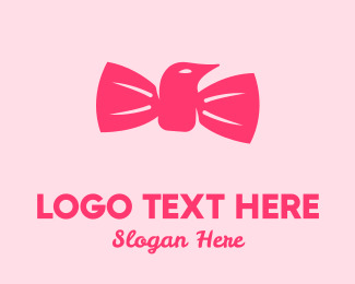 Pinkish - Pink Bow Tie Bird logo design