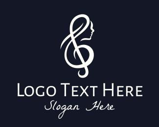 G Clef - Woman Vocal Singer logo design