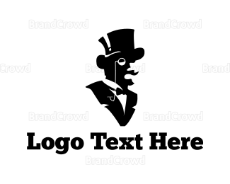 English - Gentleman Silhouette logo design