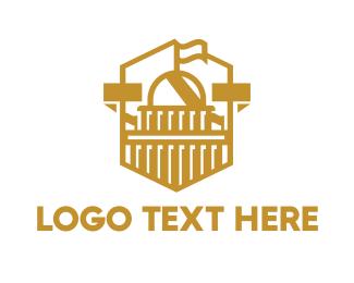 University - US Gold Capitol logo design