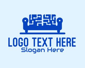Programmer - Blue Tech Couch logo design