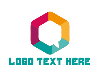 App - Hexagon Chat logo design